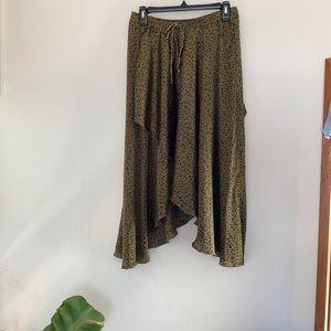 Zara Silk Leopard Print Handkerchief Midi Skirt